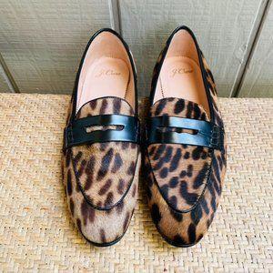J. Crew J8502 Academy Leopard Calf Hair Loafers
